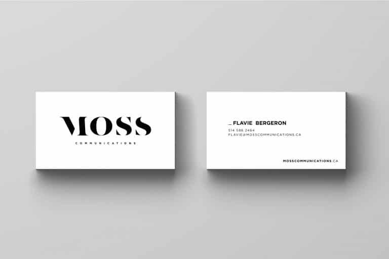 Cartes d'affaire Moss communications